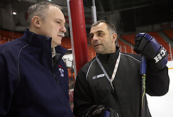 Team doctor Ladislav Simnic and coach Matjaz Kopitar at morning practice of Slovenian national team before match against Canada at Hockey IIHF WC 2008 in Halifax,  on May 02, 2008 in Metro Center, Halifax, Canada.  (Photo by Vid Ponikvar / Sportal Images)