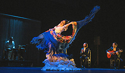 © London News Pictures. 23/02/2017. London, UK. Patricia Guerrero dances with the bata de cola during a rehearsal performance of Gala Flamenco at Sadler's Wells theatre in London. Photo credit: Carole Edrich/LNP