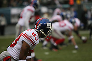 PHILADELPHIA - DECEMBER 9: Sinorice Moss #83 of the New York Giants looks to his line before a play during the game against the Philadelphia Eagles on December 9, 2007 at Lincoln Financial Field in Philadelphia, Pennsylvania. The Giants won 16-13.