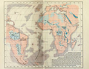 Geological Map of Africa And South America From The Early Part Of The Tertiary Epoch From the Book '  Britain across the seas : Africa : a history and description of the British Empire in Africa ' by Johnston, Harry Hamilton, Sir, 1858-1927 Published in 1910 in London by National Society's Depository