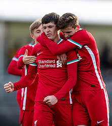 KIRKBY, ENGLAND - Saturday, October 31, 2020: Liverpool's Layton Stewart (C) celebrates after scoring the fourth goal with fellow goal-scorers Max Woltman (L) and Tyler Morton (R) during the Under-18 Premier League match between Liverpool FC Under-18's and Newcastle United FC Under-18's at the Liverpool Academy. Liverpool won 4-1. (Pic by David Rawcliffe/Propaganda)