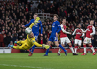 Football - 2017 / 2018 Carabao (EFL/League) Cup - Semi-Final, Second Leg: Arsenal (0) vs. Chelsea (0)<br /> <br /> Wilfredo Caballero (Chelsea FC)  gwatches the flight of the ball after he gets a finger tip to a Mesut Ozil (Arsenal FC) shot in the last seconds of the first half at The Emirates.<br /> <br /> COLORSPORT/DANIEL BEARHAM