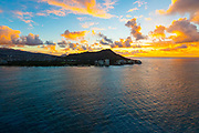 Aerial, Sunrise, Diamond Head, Waikiki, Honolulu, Oahu, Hawaii
