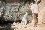 Ecologists surveying kittiwake colony on the Dorset coast at Blackers Hole.
