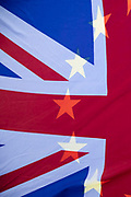 Anti Brexit protest Union Jack and EU flags in Westminster on 2nd October 2019 in London, England, United Kingdom.