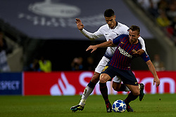 October 3, 2018 - London, England, United Kingdom - Arthur of Barcelona and Erik Lamela of Tottenham battle for the ball during the Group B match of the UEFA Champions League between Tottenham Hotspurs and FC Barcelona at Wembley Stadium on October 03, 2018 in London, England. (Credit Image: © Jose Breton/NurPhoto/ZUMA Press)