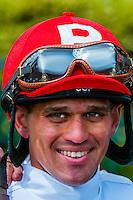Jockey Javier Castellano at Keeneland Racecourse, Lexington, Kentucky USA.. He is a jockey in American Thoroughbred horse racing