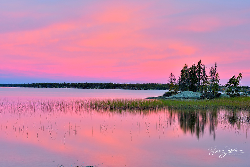 Sunrise colour on Long Lake, Yellowknife, Fred Henne Territorial Park, Northwest Territories, Canada