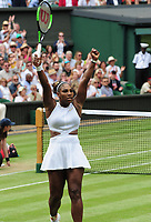 Tennis - 2019 Wimbledon Championships - Week Two, Tuesday (Day Eight)<br /> <br /> Women's Singles, Quarter-Final: Alison Riske (USA) vs. Serena Williams (USA)<br /> <br /> Serena Williams celebrates winning the match, on Centre Court.<br /> <br /> COLORSPORT/ANDREW COWIE