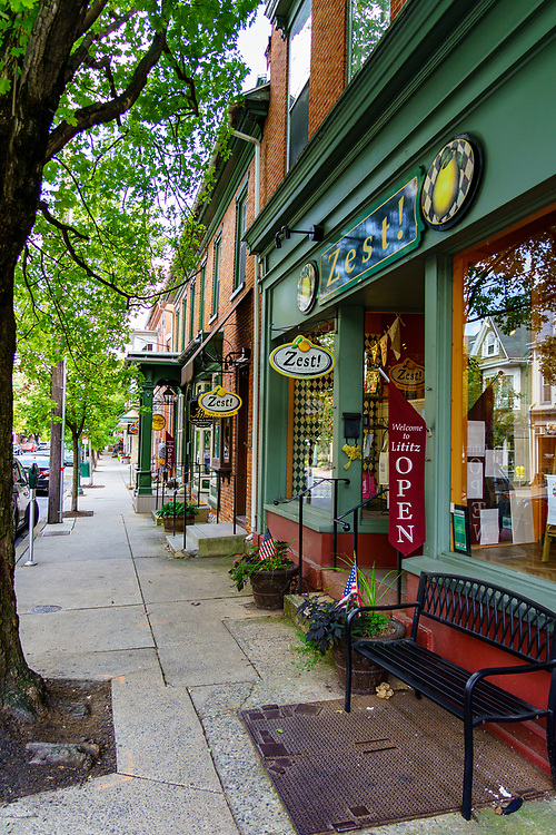 Lititz, PA, USA - August 21, 2020: Named the Coolest small town in America, Lititz features small shops and restaurants in its downtown area.
