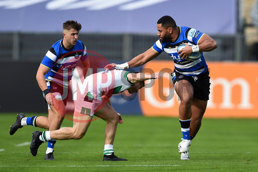 Joe Cokanasiga of Bath Rugby takes on the Newcastle Falcons defence - Mandatory byline: Patrick Khachfe/JMP - 07966 386802 - 21/11/2020 - RUGBY UNION - The Recreation Ground - Bath, England - Bath Rugby v Newcastle Falcons - Gallagher Premiership