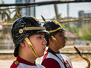 13 FEBRUARY 2016 - BANGKOK, THAILAND: Cheerleaders from Thammasat University and Chulalongkorn University, Thailand's two leading public universities, at their annual football (soccer) match rivalry. 2016 was the 71st game in the rivalry.        PHOTO BY JACK KURTZ