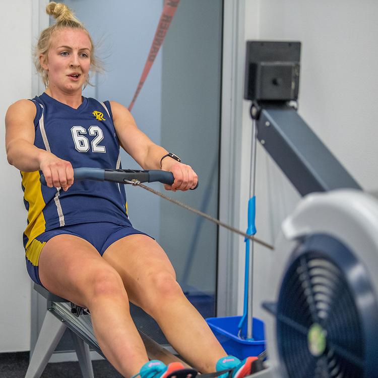 Isabella Carter, Avon Rowing Club<br /> <br /> SRPC squad ergometer training at HPSNZ Apollo Sports Centre, Christchurch. Tuesday 20 November 2018 © Copyright photo Steve McArthur / @RowingCelebration