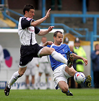 Photo: Paul Thomas.<br /> Preston North End v Birmingham City. Coca Cola Championship. 06/05/2007.<br /> <br /> David Nugent (L) of Preston comes into tackle Stephen Clemence.
