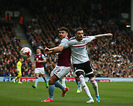 Scott Malone of Fulham and Scott Hogan of Aston Villa during the Sky Bet Championship match at Craven Cottage, London<br /> Picture by Richard Brooks/Focus Images Ltd 07947656233<br /> 17/04/2017