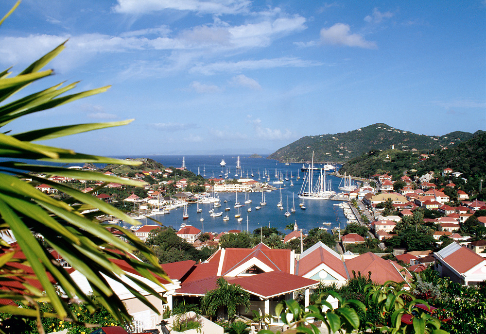 Aerial view of Gustavia town and harbor, St. Barthelemy, FWI