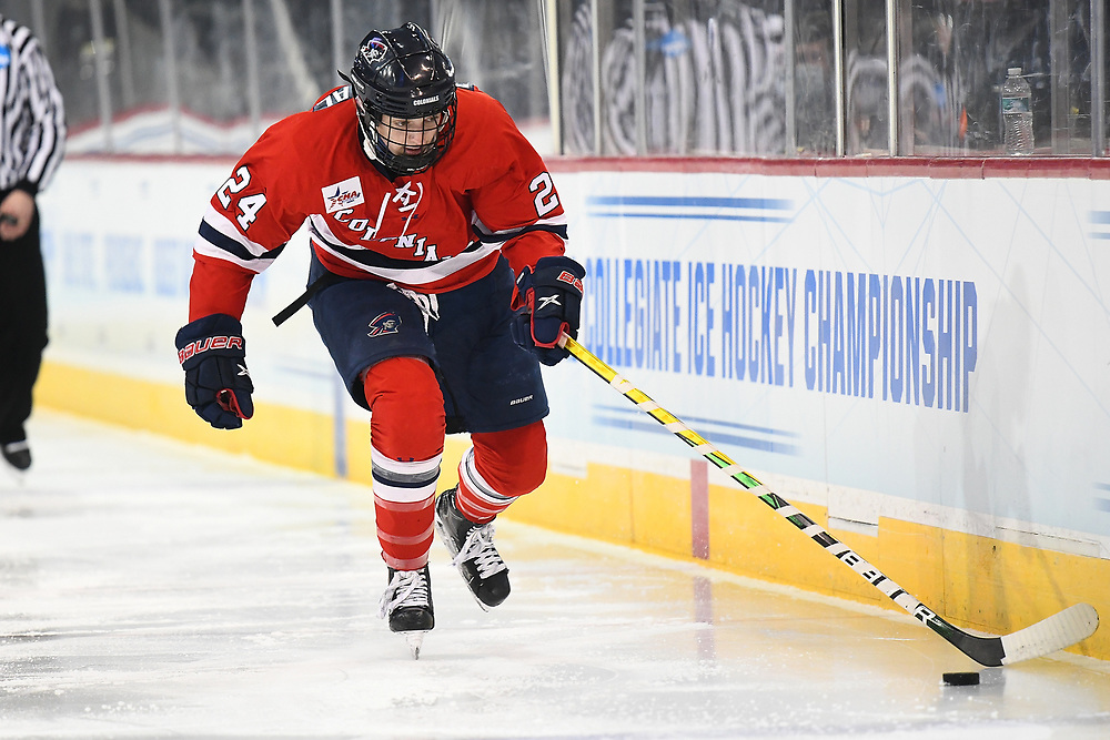 ERIE, PA - MARCH 15: Anjelica Diffendal #24 of the Robert Morris Colonials skates with the puck in the third period during the NCAA Tournament Quarterfinals game against the Northeastern Huskies at the Erie Insurance Arena on March 15, 2021 in Erie, Pennsylvania. (Photo by Justin Berl/Robert Morris Athletics)