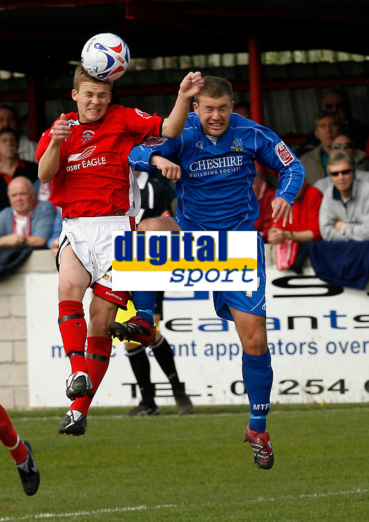 Photo: Paul Greenwood.<br />Accrington Stanley v Macclesfield Town. Coca Cola League 2. 28/04/2007.<br />Accrington's James Harris beats Alan Navarro in the air