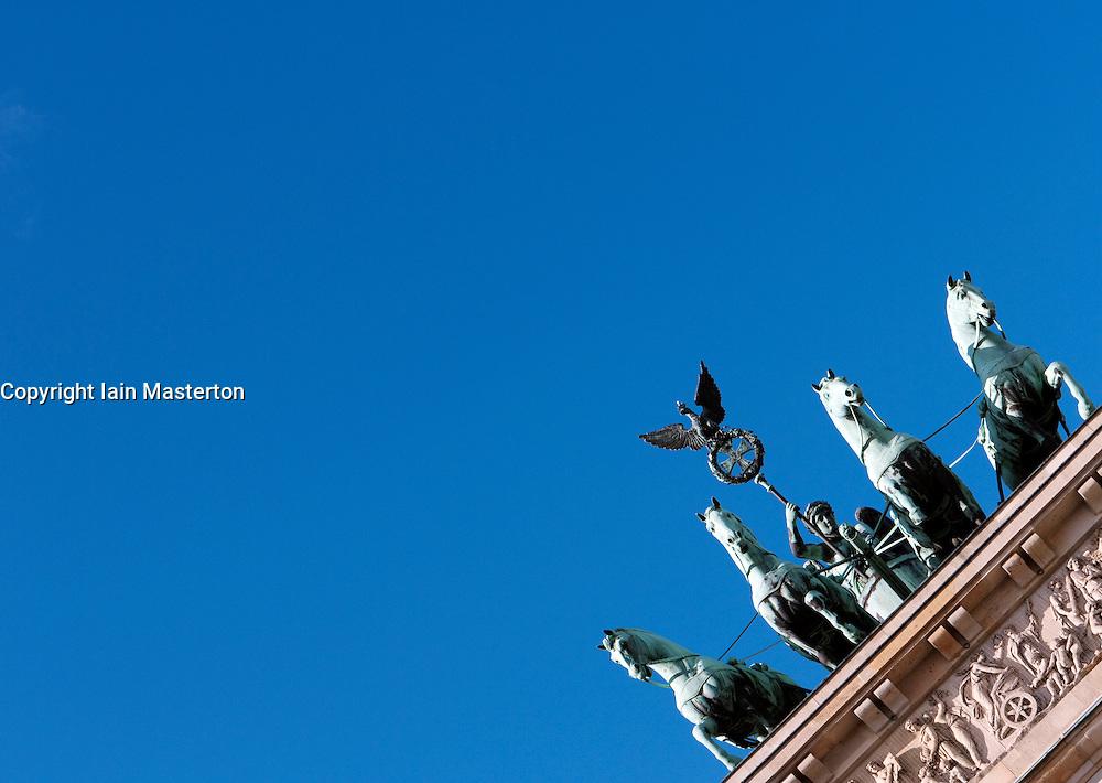 Quadriga atop Brandenburg Gate in Berlin