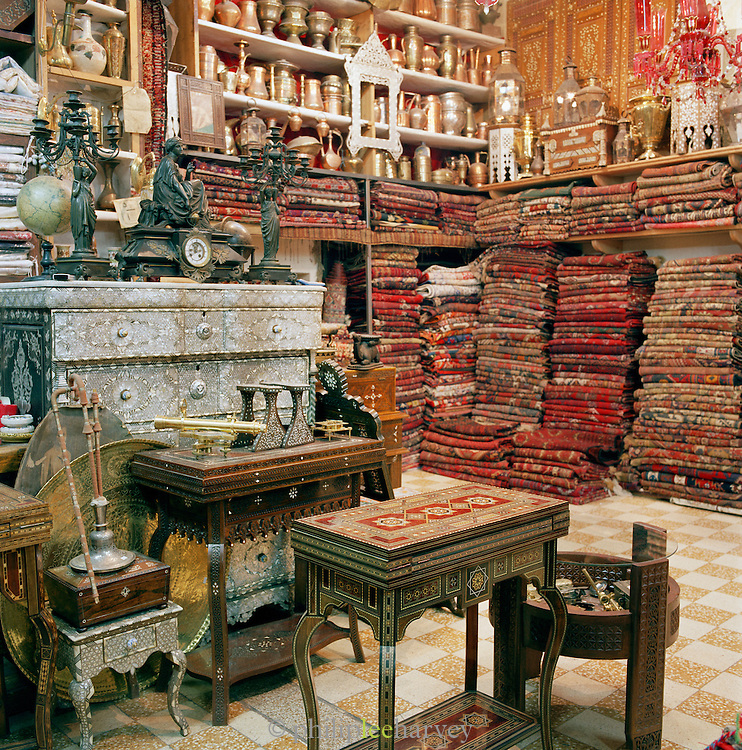 A kilim shop in the souq of Damascus, Syria