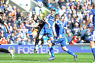 Cardiff City's Craig Noone (c) is challenged for a header by QPR's Paul Konchesky. Skybet football league championship match, Cardiff city v Queens Park Rangers at the Cardiff city stadium in Cardiff, South Wales on Saturday 16th April 2016.<br /> pic by Carl Robertson, Andrew Orchard sports photography.