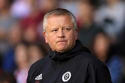 """Sheffield United manager Chris Wilder prior to the Carabao Cup, Second Round match at Bramall Lane, Sheffield. PRESS ASSOCIATION Photo. Picture date: Tuesday August 22, 2017. See PA story SOCCER Sheff Utd. Photo credit should read: Tim Goode/PA Wire. RESTRICTIONS: EDITORIAL USE ONLY No use with unauthorised audio, video, data, fixture lists, club/league logos or """"live"""" services. Online in-match use limited to 75 images, no video emulation. No use in betting, games or single club/league/player publications."""