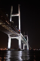 Yokohama Bay Bridge crosses Yokohama harbour which is within Tokyo Bay. The suspension bridge spans a total length of 860 meters one of the longest in the world.