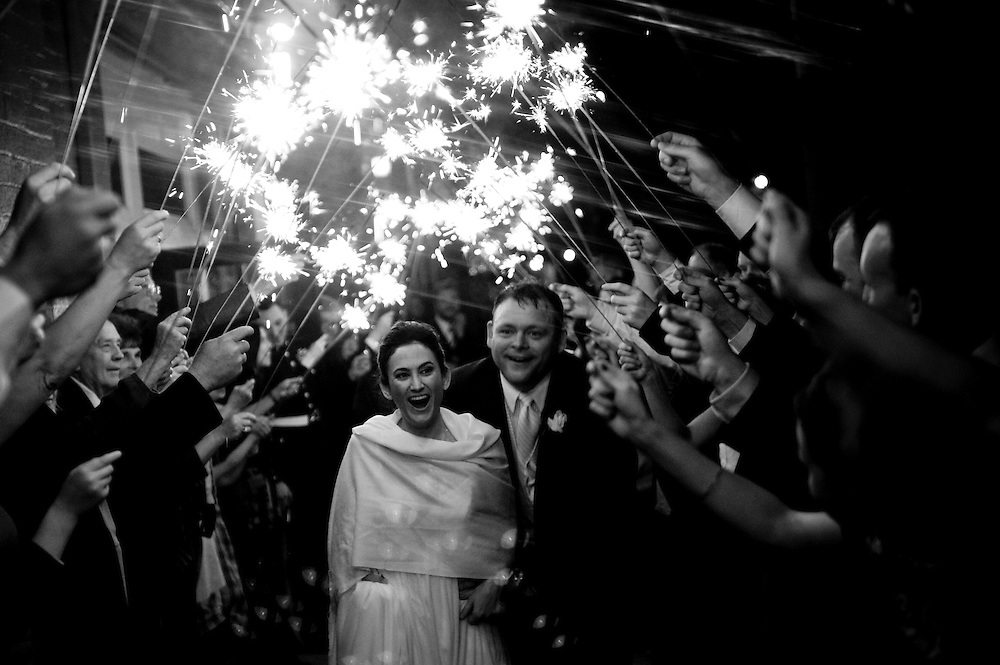 Max and Rebecca leave their reception amidst a shower of sparklers after a beautiful wedding day in Sacramento.