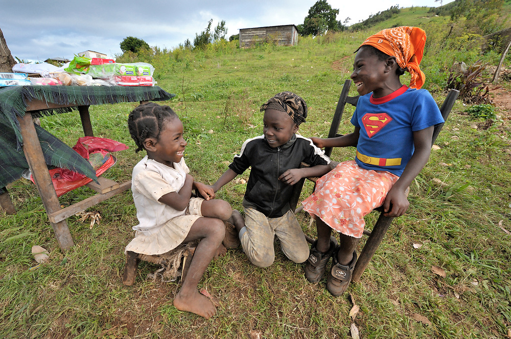 Three girls in the Haitian village of Foret des Pins.