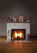 Fireplace with winter decor. Photo by Brandon Alms Photography