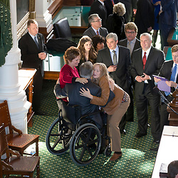 Outgoing Texas Attorney General Greg Abbott receives guests in the Senate Chamber as new AG Ken Paxton is sworn into office.  Abbott will become Texas Governor on Jan. 20th.<br /> <br /> Official Occasions/Donor Events Sample Photography -- Daemmrich