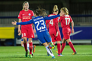 Chelsea Ladies Ramona Bachmann (23) celebrates during the UEFA Women's Champions League quarter final second leg match between Chelsea Ladies and Montpellier Feminines at the Kings Sports Ground, New Malden, United Kingdom on 28 March 2018. Picture by Robin Pope.