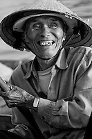 the laughing boatman in black and white.