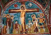 TURKEY, CAPPADOCIA Karanlik Kilise, Crucifixion frescoe