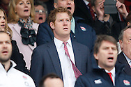 Prince Harry sings the national anthem during the RBS 6 Nations match at Twickenham Stadium, Twickenham<br /> Picture by Andrew Tobin/Focus Images Ltd +44 7710 761829<br /> 21/03/2015