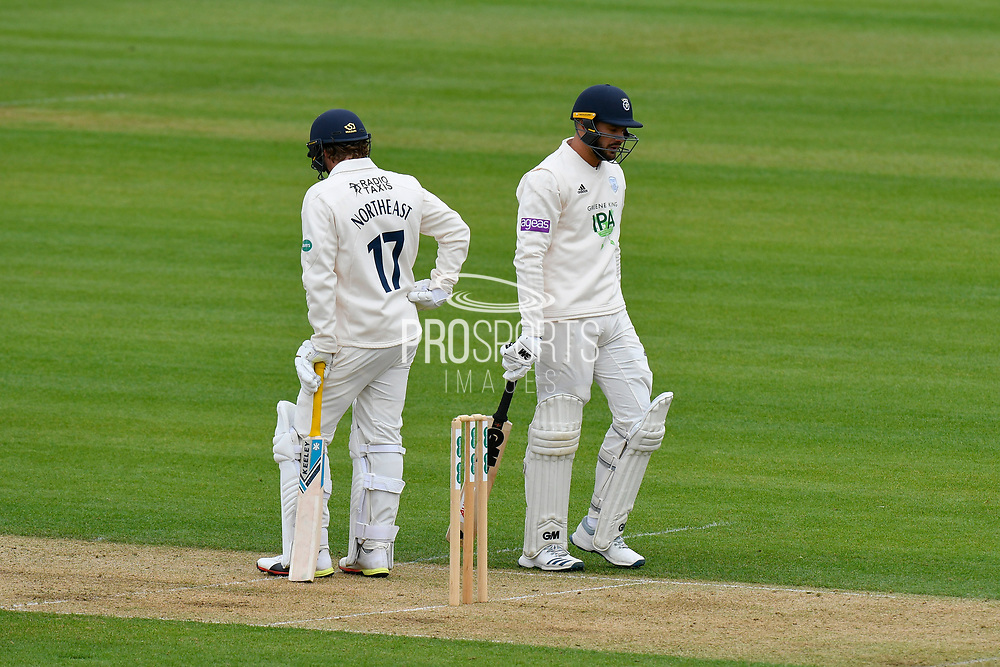 Aiden Markram of Hampshire looks dejected as he walks back to the pavilion after being dismissed by Matt Quinn of Essex during the first day of the Specsavers County Champ Div 1 match between Hampshire County Cricket Club and Essex County Cricket Club at the Ageas Bowl, Southampton, United Kingdom on 5 April 2019.
