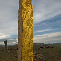 """Mysterious, 2700+ year-old, bronze age Deer Stones stand at Ushkin Uver (""""Lung Mountain""""), near Muren, Mongolia."""