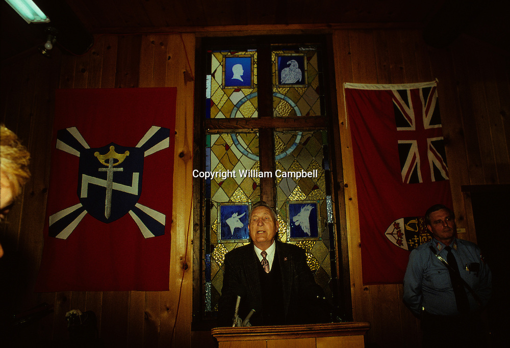 Richard Butler, Pastor of the Church of Jesus Christ Christian Aryan Nations at his compound in Hayden Lake, Idaho. 4/92
