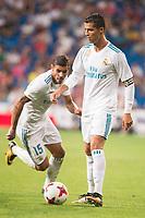 Real Madrid's Cristiano Ronaldo and Theo Hernandez during XXXVIII Santiago Bernabeu Trophy at Santiago Bernabeu Stadium in Madrid, Spain August 23, 2017. (ALTERPHOTOS/Borja B.Hojas)
