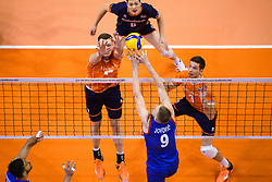 06-01-2020 NED: CEV Tokyo Volleyball European Qualification Men, Berlin<br /> Match Serbia vs. Netherlands 3-0 / Michael Parkinson #17 of Netherlands, Maarten van Garderen #3 of Netherlands