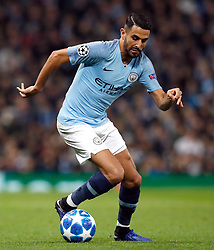 Manchester City's Riyad Mahrez during the UEFA Champions League match at the Etihad Stadium, Manchester. PRESS ASSOCIATION Photo. Picture date: Wednesday November 7, 2018. See PA story SOCCER Man City. Photo credit should read: Martin Rickett/PA Wire