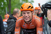 Jesper Asselman of Roompot - Charles winner of stage 1 of the 2019 Tour de Yorkshire rideing back down towards the podium during the first stage of the Tour de Yorkshire from Doncaster to Selby, Doncaster, United Kingdom on 2 May 2019.