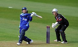 Gloucestershire's Hamish Marshall hits out - Photo mandatory by-line: Harry Trump/JMP - Mobile: 07966 386802 - 30/03/15 - SPORT - CRICKET - Pre Season Fixture - T20 - Somerset v Gloucestershire - The County Ground, Somerset, England.