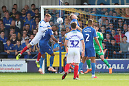Portsmouth midfielder Ben Thompson (32) watches as Portsmouth midfielder Tom Naylor (7) scoring goal to make it 1-0 during the EFL Sky Bet League 1 match between AFC Wimbledon and Portsmouth at the Cherry Red Records Stadium, Kingston, England on 13 October 2018.