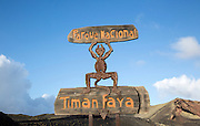Sign for Parque Nacional de Timanfaya, national park, Lanzarote, Canary Islands, Spain designed by Cesar Manrique