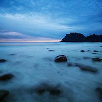 Evening light at Utakleiv Beach, Vestvågøya, Lofoten Islands, Norway