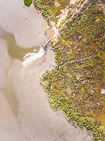 Aerial view of an empty beach in portugal.