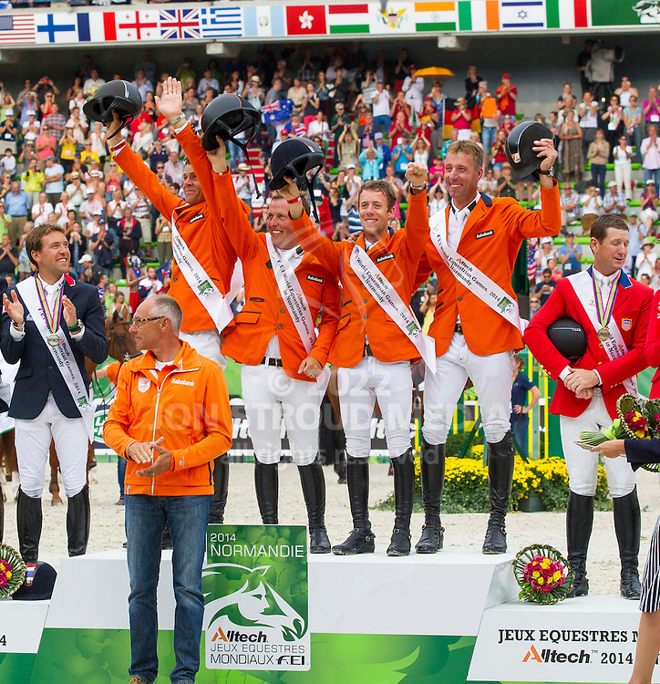 Team Nederland - World Champions, - Second Round Team Competition - Alltech FEI World Equestrian Games™ 2014 - Normandy, France.<br /> © Hippo Foto Team - Leanjo De Koster<br /> 25/06/14