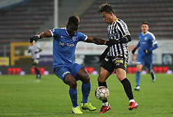 December 17, 2017 - Charleroi, BELGIUM - Genk's Joseph Aidoo and Charleroi's Christian Benavente fight for the ball during the Jupiler Pro League match between Charleroi and Racing Genk, in Charleroi, Sunday 17 December 2017, on the day 19 of the Jupiler Pro League, the Belgian soccer championship season 2017-2018. BELGA PHOTO VIRGINIE LEFOUR (Credit Image: © Virginie Lefour/Belga via ZUMA Press)