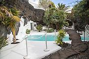 Swimming pool garden inside Fundación César Manrique, Taro de Tahíche, Lanzarote, Canary islands, Spain